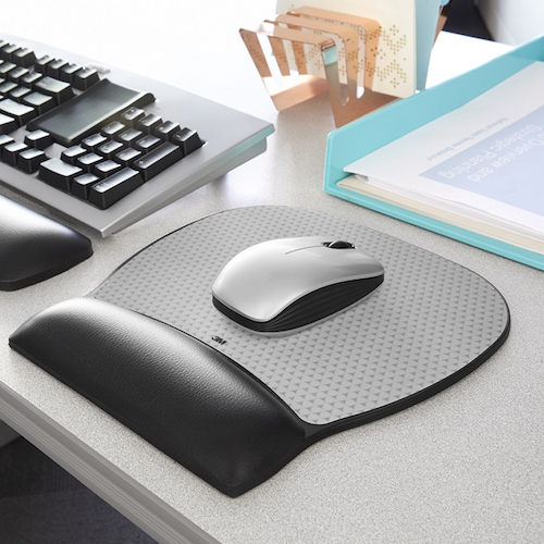 Gel mouse pad with wrist rest in use